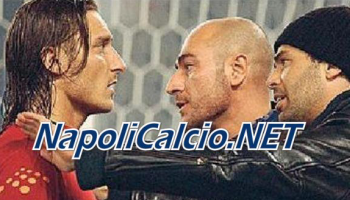 Daniele De Santis alias Gastone, discute con Francesco Totti