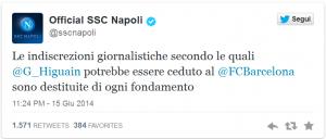 Il tweet del Napoli su Higuain