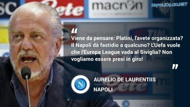 De Laurentiis, eventuale eliminazione Napoli organizzata da Platini & c