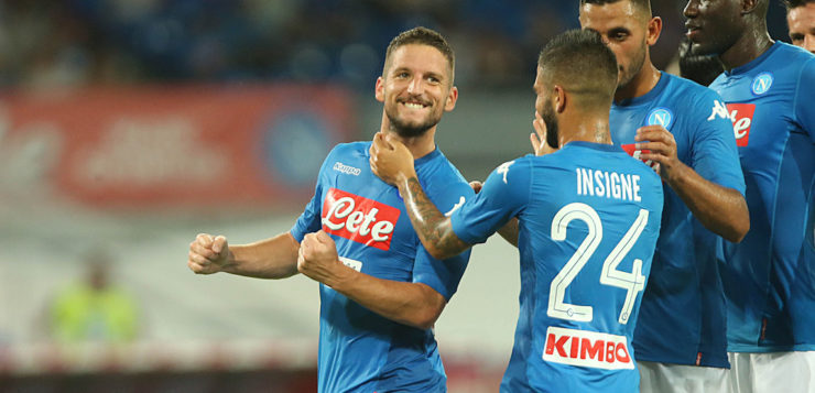 Napoli-Espanyol 2-0: goal Mertens e Albiol, spettacolo Ounas