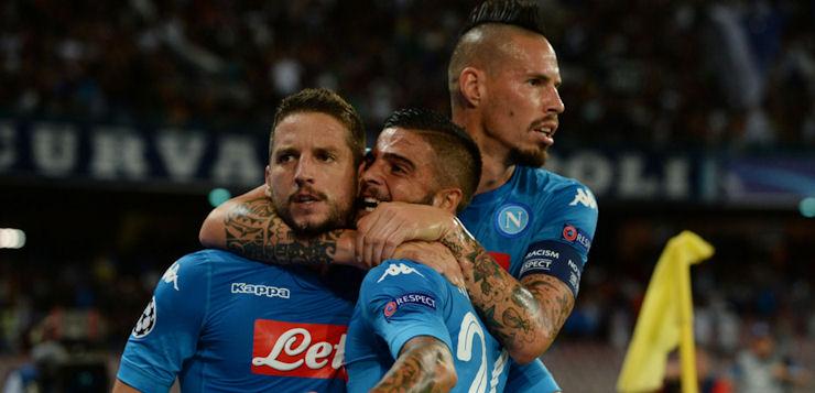 Napoli-Nizza 2-0: goal Mertens e Jorginho ma gli azzurri sprecano