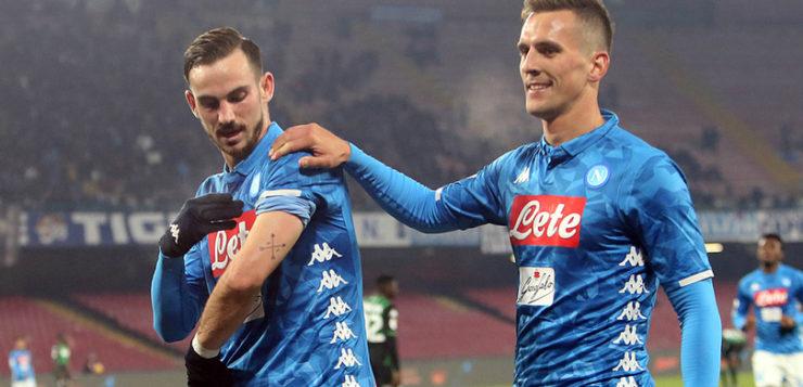 Napoli-Sassuolo 2-0: goal Milik e Fabian Ruiz, azzurri ai quarti