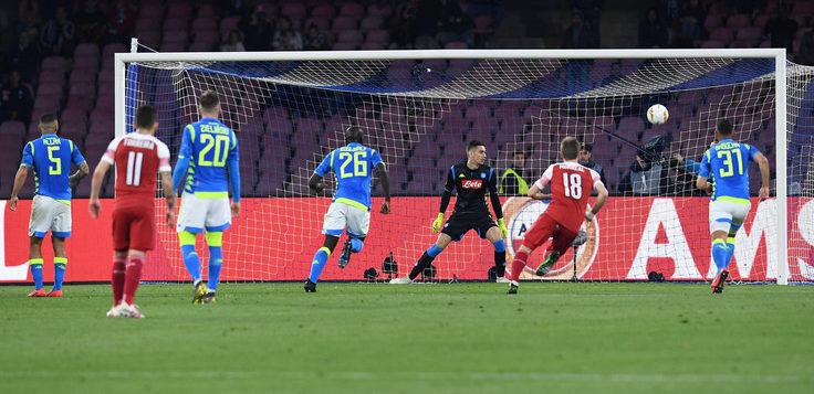 Napoli-Arsenal 0-1, goal Lacazette: azzurri eliminati dai Gunners