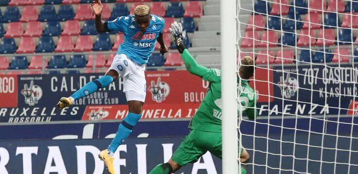 Bologna-Napoli 0-1, goal Osimhen di testa