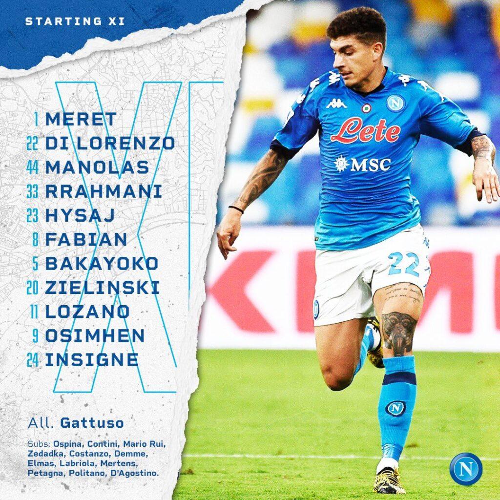 Napoli-Udinese, formazioni ufficiali
